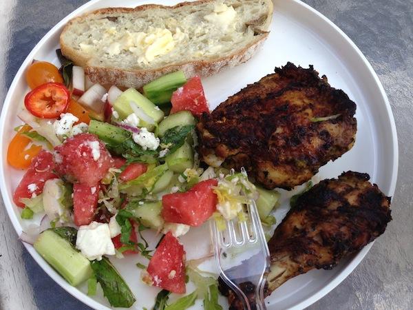 Charmoula Chicken and Watermelon-Mint-Feta Salad